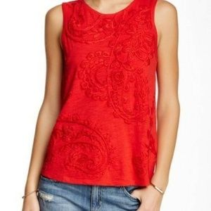 Lucky Brand Red Embroidered Paisley Tank Top